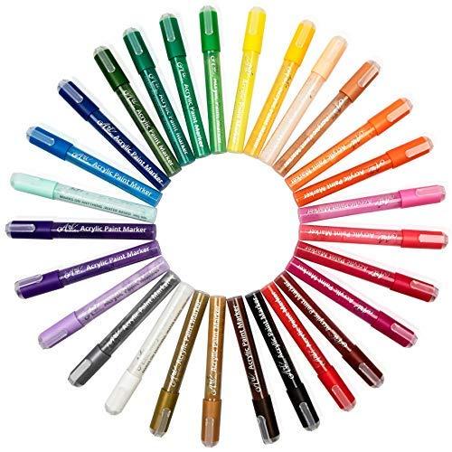 Acrylstifte Marker Stifte Value Pack - 28 Farb Marker Set für Metall, Stein, Holz, Glas und Kunststoff-Malerei. Bonus Aufbewahrungstasche enthalten. Non Toxic und Eco Friendly Pens -