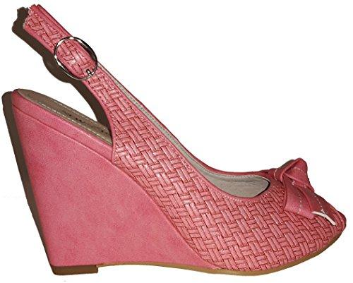 Talons hauts, Stiletto Pumps High Heels sandales, très sexy, bleu, orange, rosé, noir, blanc, pink, beige, gris, violet, rouge, serpents look, liège, glossy, modèle 11064105012035, escarpins. Pink plateau.