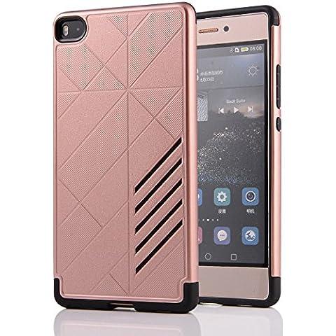 Ascend P8Funda, P8, Huawei P8Funda, M. jvisun diseño bicolour de carcasa a prueba de golpes Resistente al Impacto Protectora Carcasa de plástico + goma iPad Mini Carcasa rígida Unisex Skin para Huawei Ascend P8, plástico caucho, oro rosa, For Huawei Ascend