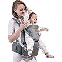 SUNVENO Baby Carrier with Detachable Hipseat & Hood Ergonomic Infant Front Carriers (Gray)