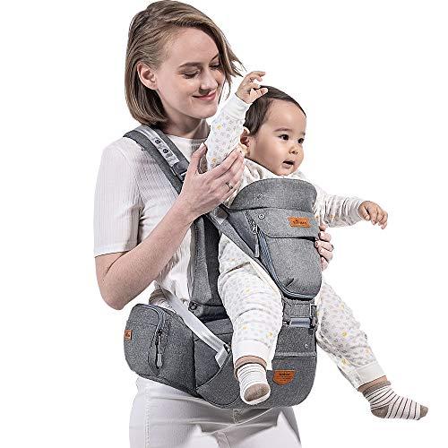 SUNVENO Babytrage mit Abnehmbarem Kapuze Ergonomische Kindertrage Bauchtrage Hüftsitz für baby Rückentrage Babytrage 3 in 1 Kindertrage 15kg 20kg(Grau)