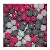 100 Bälle 7 Ø Bällebad viele bunte Farben Baby Kind Spielbälle Kugelbad Blau Türkis Grau Pink Rosa Schwarz Weiß (Pink, Grau und Weiß)