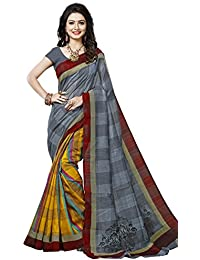 Rangreza Women's Top Collection Bhagalpuri Art Silk Grey And Yellow Coloured Printed Saree