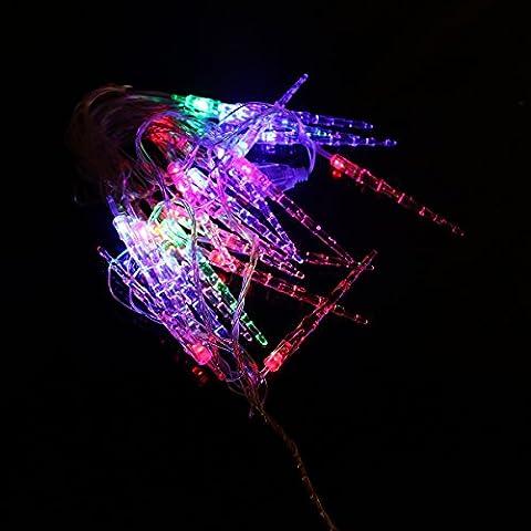 LEORX CA 220V 2W 6M colorido cadena de 28 LED luces para fiesta Fiesta Hotel Parque de decoración (Forma de Pilar de hielo)