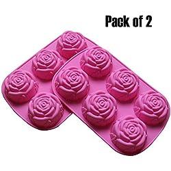 BAKER DEPOT Molde de silicona para jabón artesanal, pastel, gelatina, pudín, chocolate, 6 Cavidades