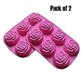 BAKER DEPOT Molde de silicona para jabón artesanal, pastel, gelatina, pudín, chocolate, 6 Cavity Rose Design, Set of 2