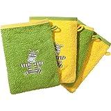 Kinderbutt Waschhandschuh 4er-Pack mit Stickerei Zebra Frottee apfelgrün Größe 15x21 cm