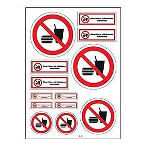 Planche A4 de stickers nourriture interdite autocollant adhésif - B42