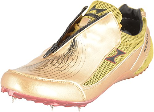 Health Unisex Gold Pu Leather & Mesh Sprint Running Spikes Shoes - 8 UK