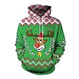 YWLINK Damen Sweatshirt Unisex Strickpullover Rudolph Rentier Pullover Weihnachten Drucken(M, Grün)