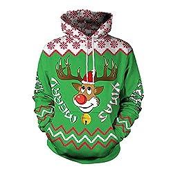 YWLINK Damen Sweatshirt Unisex Strickpullover Rudolph Rentier Pullover Weihnachten Drucken(L, Grün)