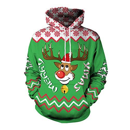 YWLINK Damen Sweatshirt Unisex Strickpullover Rudolph Rentier Pullover Weihnachten Drucken(XL, Grün)