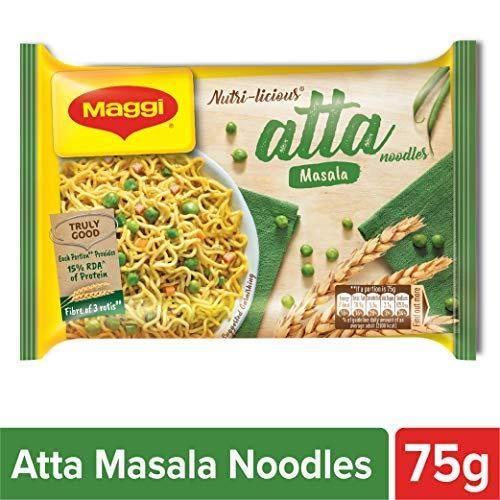 Maggi Delicious Nutri-Licious Masala Atta Noodles Vegetarian, India, 75g Per Pack (Pack of 16)