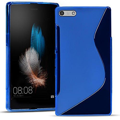 Conie Rückschale kompatibel mit Huawei Ascend P7 Mini, Blaue Silikon Backcover Schutzhülle aus sturzsicheren TPU Kratzfest Kantenschutz