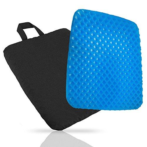 Komfort-selbstkühlendes Gel-Stuhl-Sitz-Kissen - stellen Entlastung für untereren Rücken, Steißbein, Ischias, Steißbein oder Hüfte zur Verfügung - Airflow orthopädische Entwurfs-Sitzauflage für Rollstuhl, Auto, Bürostühle, verhindern verschwitzter Unterseite mit schwarzer Abdeckung (Stellen Sie Stuhl-kissen-abdeckung)