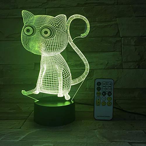 Ganjue Remote Touch Control Enjoyable 3D Abstrakte Große Augen Katze Nachtlichter Led Tischlampe Als Hauptdekorationen Und Kindergeburtstagsgeschenk