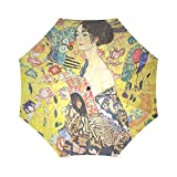 Liebhaber/Frau/Mann Geschenke Presents Gustav Klimt Dame mit einem Fan 100% Stoff und Aluminium faltbar Hochwertige Regenschirm