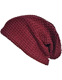 Mens Cap - SODIAL(R) Mens Slouchy Long Beanie Knit Cap for Summer Winter Oversize Jujube red