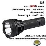 K6HD Cree XHP35 HD LED-Taschenlampe, 3.000 K, 3.000 K, 3.000 K, 2.600 Lumen, 5 Modi, Warmweiß, 6.500 K, Schwarz (1 x 26650)