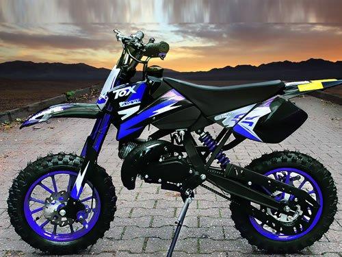 "Dirtbike Coyote 49cc 10"" Crossbike Pocket Minicross Motorcross Blau"
