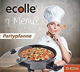 ecolle hochwertiger elektrische Pizzapfanne Partypfanne 42 cm Grilpfanne Elektropfanne Antihaftbeschichtete Pfanne Multipfanne, Leistung 1500 W