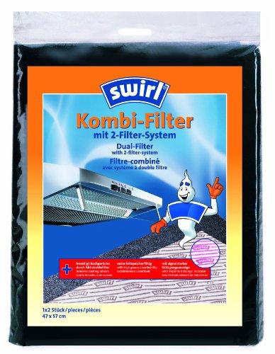 Swirl Kombi-Filter für Flachhauben inkl. Einweghandschuhe, Signalstarke Sättigungsanzeige, 1 x 2 Stück, 47 x 57 cm (Euro-swirl)