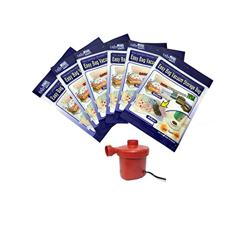 Easy Bag Vacuum Space Saver Bags – Set of 6 with Electric Pump – 2 Small (45 x 65cm), 2 Medium (60 x 90cm), 2 Large (90 x 86cm)