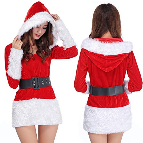GSDZN - Weiß/Schwarz Weihnachtsmann Damen, Weihnachtsmann-Kostüm, Freundin, Einheitsgröße, S-XL,B-OneSize