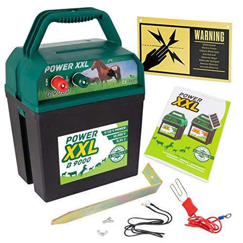 Power XXL B 9.000   Effektives Weidezaungerät 9V/12V   Set inklusive internationalem Warnschild   Qualität zum Kampf-Preis   Elektrozaungerät für Ihren sicheren Weidezaun   Pferd, Pony, Rind