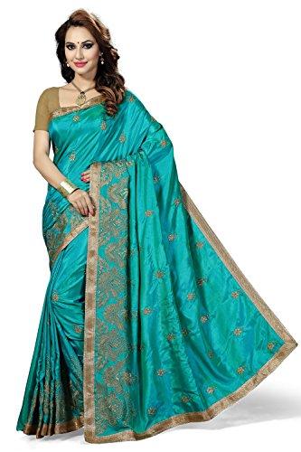 Rani Saahiba Embroidered Art Silk Saree(SKR2477_Turquoise)