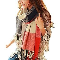 Youson Girl Mujeres caliente Mantas Cozy Pashmina bufanda larga tartán enrejado mantón (B)