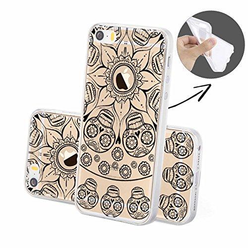 FINOO | Silikon-Handy-Case für iPhone 6 / 6S | weiche, transparente, flexible Silikon-Handy-Hülle mit verschiedenen modernen Motiven für Apple Smartphone | Blondie Black Henna Totenkopf