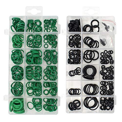 495 pezzi 36 misure O-ring kit nero e verde metrico o anello anelli in gomma o anelli di resistenza all'olio, 270 pezzi + 225 pezz
