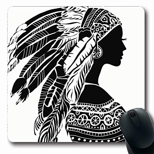 Luancrop Mousepad für Computer Notebook Red Native Young Kostüm American Indian Girl Warrior Kopfschmuck Design Modell rutschfeste Gaming Mouse Pad (Native Indian Girl Kostüm)