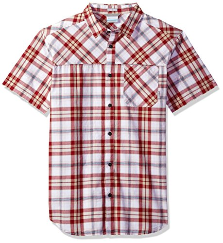 Columbia Men's Thompson Hill Yarn Dye Short Sleeve Shirt, Red Element Plaid, Large - Dye Plaid Shirt