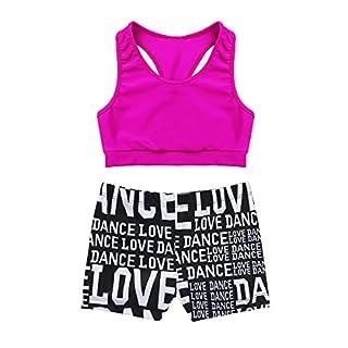 CHICTRY Kids Girls Racer Back Top and Shorts Love Dance sets for Gymnastics Leotard Dancing Rose 5-6 Years
