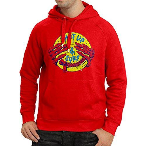 Felpa con cappuccio accessori surf abbigliamento surf i regali (XX-Large Rosso Multicolore)