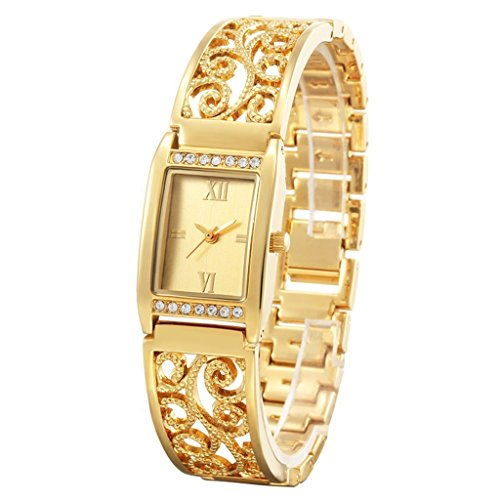 DK-CJBYC Damenuhr Mode Strass Halb Armband Gold Quarzuhr