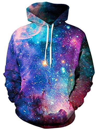 BFUSTYLE 3D Sudadera estampada con capucha Novedad Galaxy Sweater para hombre Mujeres sudaderas con capucha Unisex Sudadera con bolsillo grande