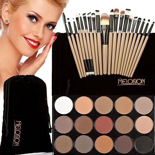 Tonsee 15 Couleur Fard à paupières+ 20 Pcs 20 pièces maquillage brosses Concealer Shadow de poudre pour le visage (Marron+Noir)