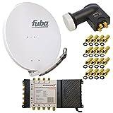 8 Teilnehmer Satelliten Anlage Antenne Fuba 85x85 cm Alu Grau DAA 850 G + PremiumX Multischalter 5/8 Multiswitch Matrix 5-8 mit Netzteil für 8 Teilnehmer + PremiumX Quattro LNB + 16 F-Stecker Switch Sat Digital FULL HD 3D UltraHD