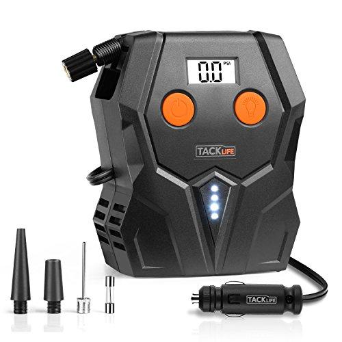 TACKLIFE Digitale per pneumatici, ACP1A compressore d\' aria pompa, 12V pneumatico pompa con ampio display retroilluminato, luce LED, 3ugelli adattatori e extra fusibile