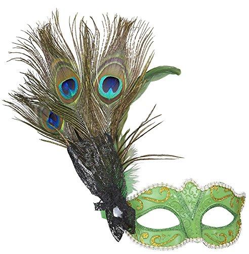 Venezianische Maske grün mit Pfaufeder (Pfau Kostüm Ideen)
