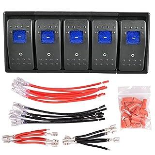 AutoEC Wippschalter 12 V 16 A ON / OFF Reset-Schalter, Rocker Switch für Carling Boot, Auto, 5er Pack Blau