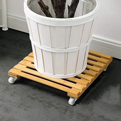 JIAJU Holz Blumentopf Trolley Movers Plant Caddy Runde Topfpflanze Stehen auf Rädern Holz Blumentopf Base Roller Moving Tray Heavy Duty für Indoor Outdoor Home (Size : 25 * 25cm) -