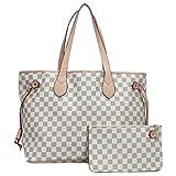 Fashion Bazaar Designer Style Check Shoulder Bags - Faux Leather Tote - Barrel
