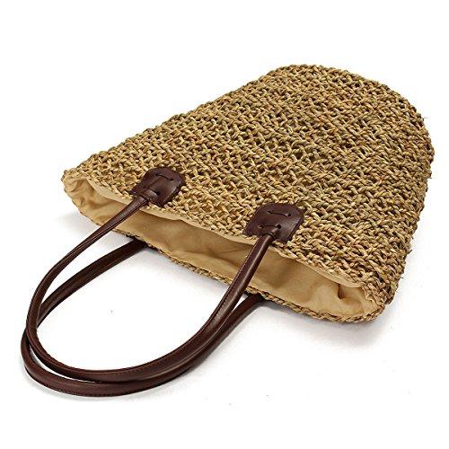 OURBAG Borsa a nastro intrecciata a donne Sacchetto di spalla della spiaggia di paglia Marrone Marrone