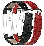 Tobfit Kompatibel mit Fitbit Alta Armband Fitbit Alta HR Armband (2 Pack) Lederarmband Edelstahl Schnalle Ersatzarmbänder für Fitbit Alta und Fitbit Alta HR (Kein Tracker) (Schwarz & Rot)