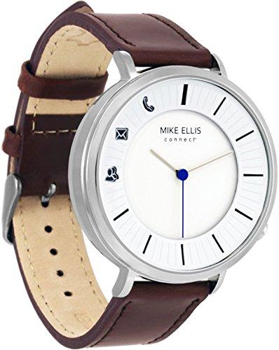 Mike Ellis Connect M4870A MEC Uhr Design West Edelstahl, Leder Silber/braun