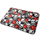 Salon Towels Skulls and Purple Leaf Bath Mat Non Slip Absorbent Super Cozy Velvet Bathroom Rug Carpet Bath Rugs